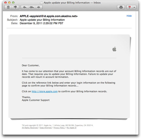 Phony Apple Store billing info email message